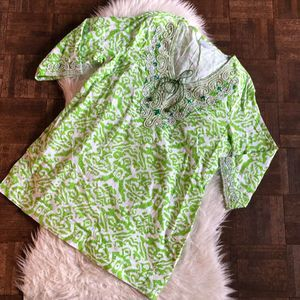 Soft Surroundings Large Green Tunic Top Beaded